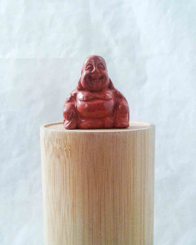 Red Jasper Laughing Buddha Pocket Stone