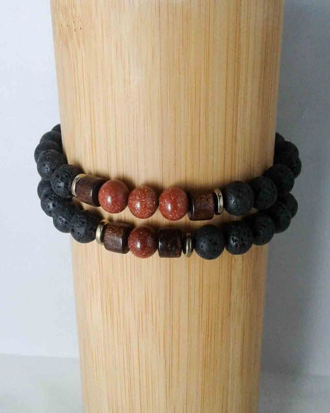 lava bead and sandstone bracelet set for men and women