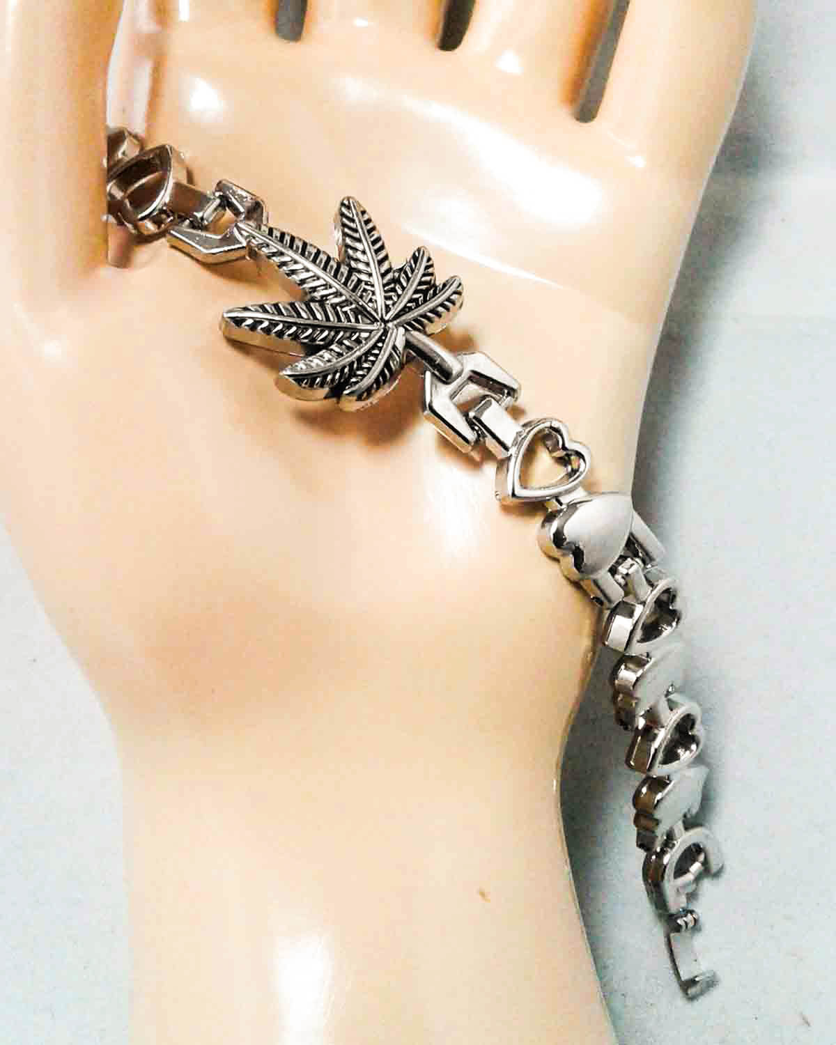 stainless steel pot leaf bracelet