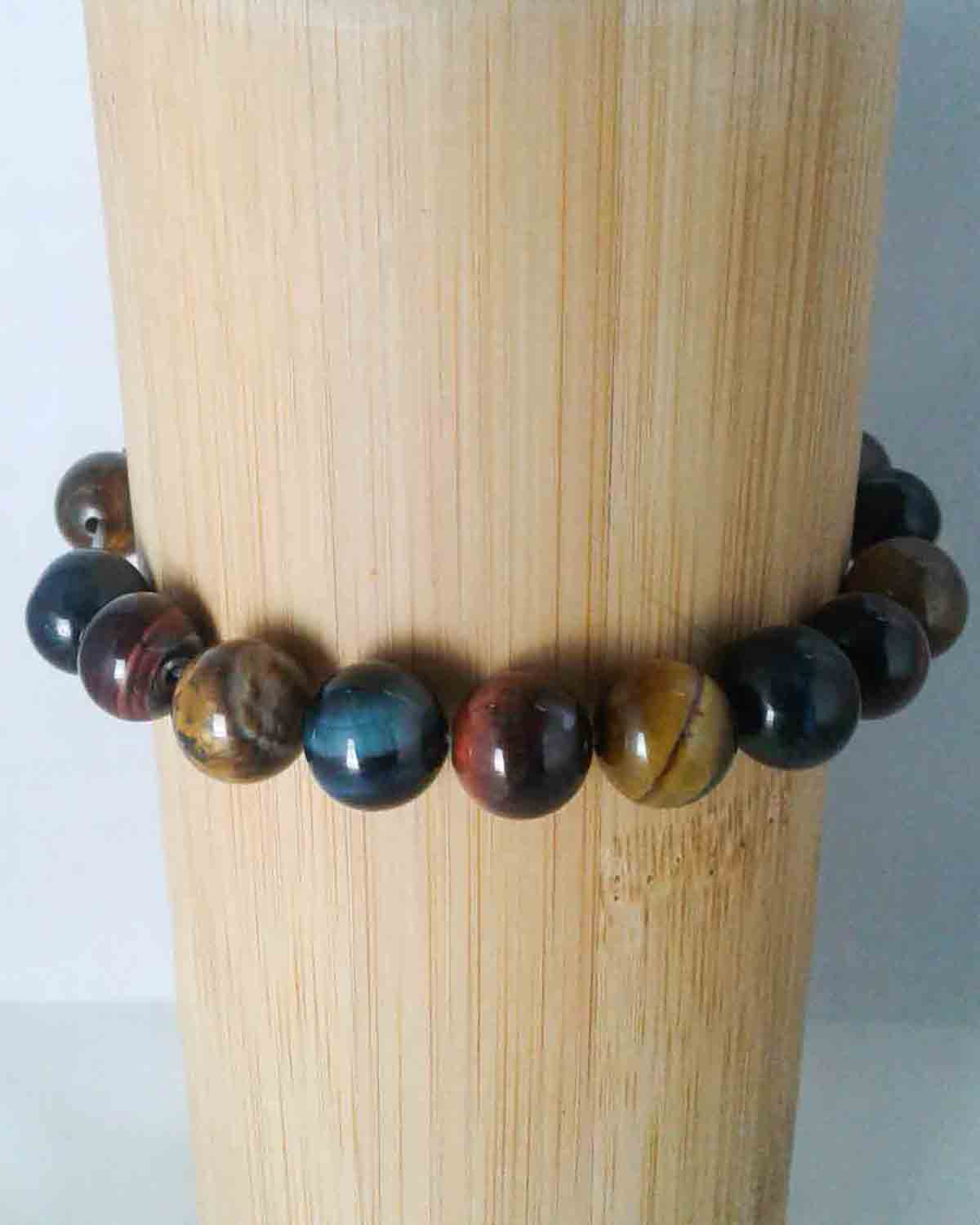 tri colored tiger eye stretch bead bracelet