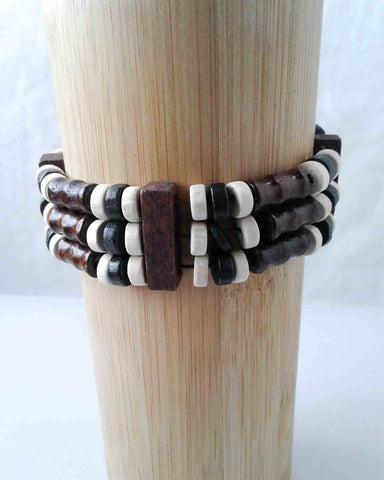 Triple Tiered Wood Bracelet White