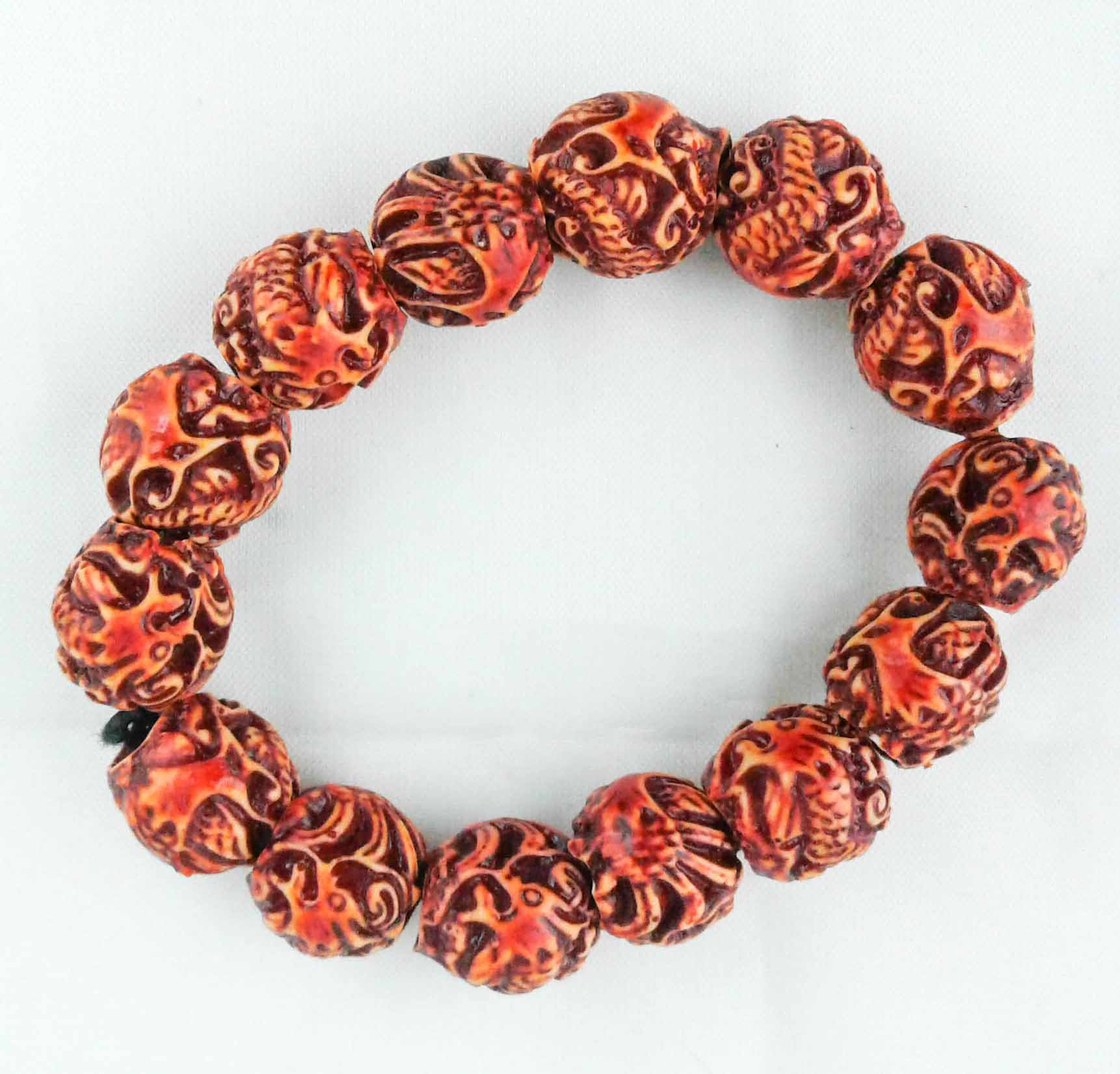HandCarved Wood Bead Bracelet
