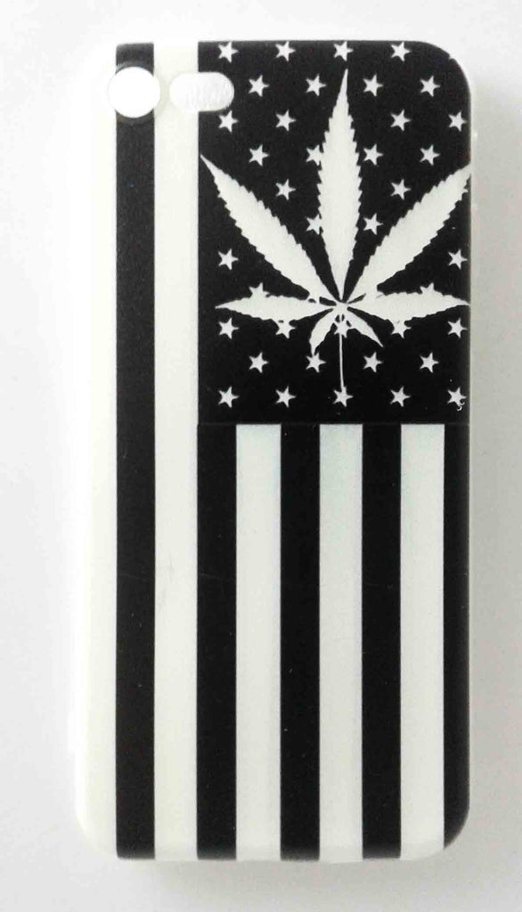 black and white pot leaf american flag half phone case