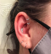 2 Forward Helix Piercings in Mississauga