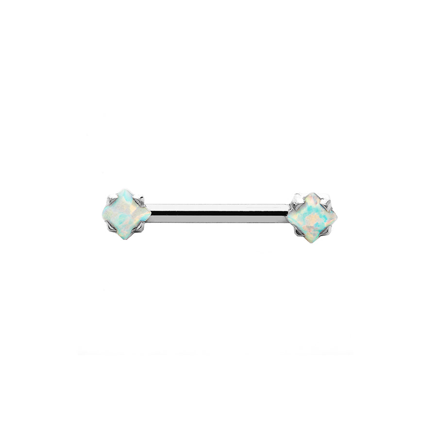 Princess-cut White Opal Nipple Bar in Titanium by Anatometal