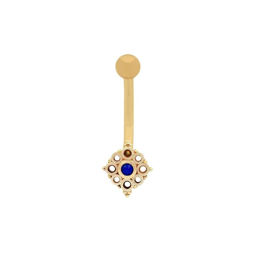 Angela Lapis Lazuli Navel Bar in 14k Yellow Gold by BVLA