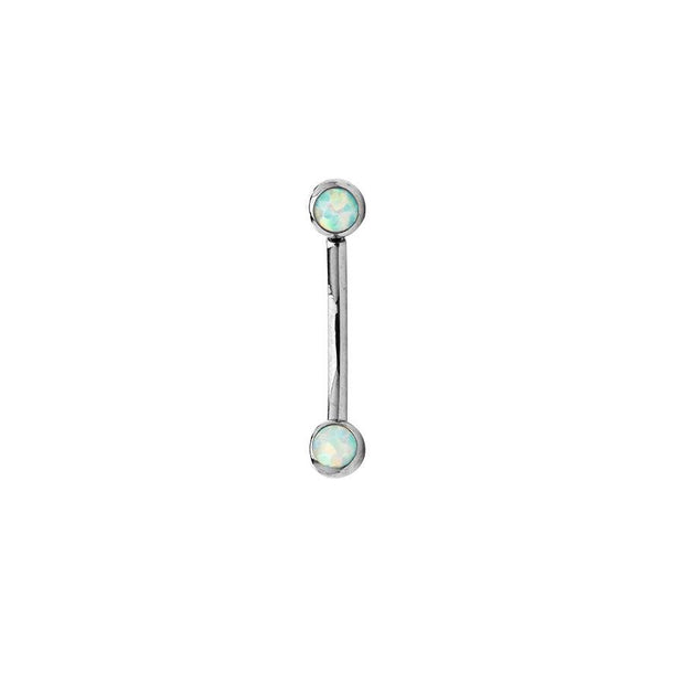 Curved Side-Gem White Opal Barbell in Titanium by NeoMetal - Pierced