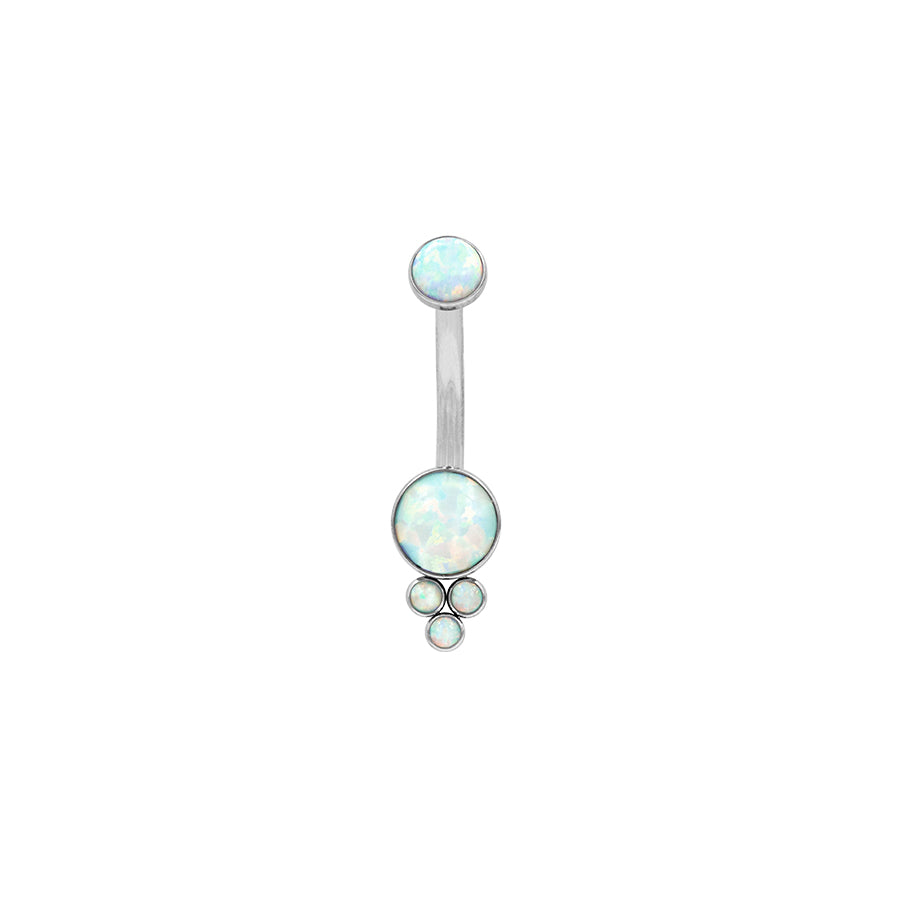 LeRoi Bijoux Pyramid Cluster Navel Bar in Titanium with White Opal