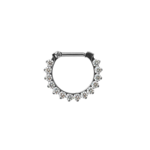 Industrial Strength Eternity Odyssey Clicker in Titanium with Clear Swarovski Gems