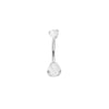 Prong-set Ball White Cat's Eye Navel Bar in Titanium by Industrial Strength