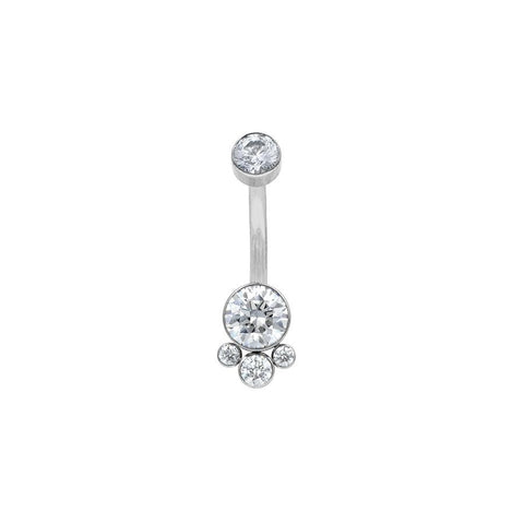 4 Gem Swarovski Cluster Navel Bar in Titanium by LeRoi