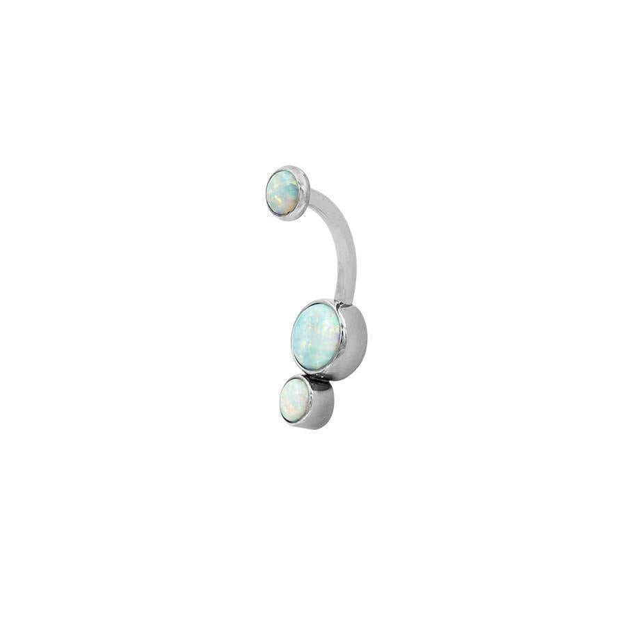 Industrial Strength Gemini Navel Bar in Titanium with White Opal