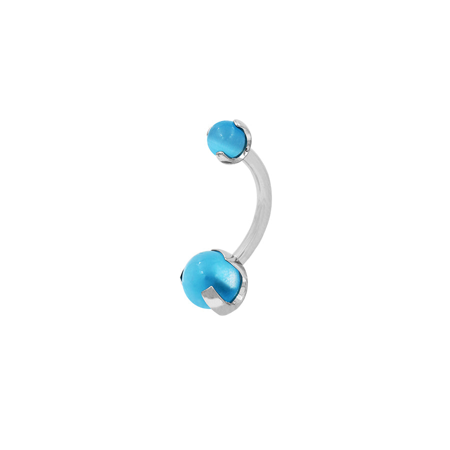 Industrial Strength Prong-set Ball Navel Bar in Titanium with Aqua Cat's Eye Gems