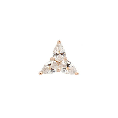 3 Little Pears CZ End in 14k Rose Gold by Buddha Jewelry