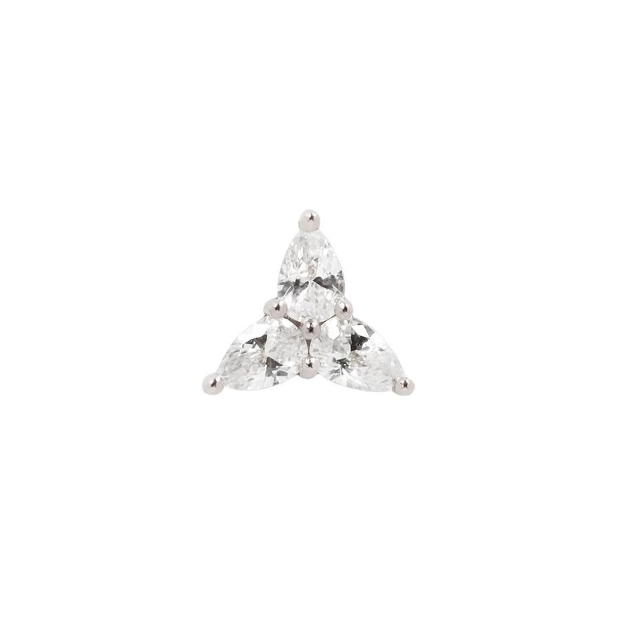 3 Little Pears CZ End in 14k White Gold by Buddha Jewelry - Pierced