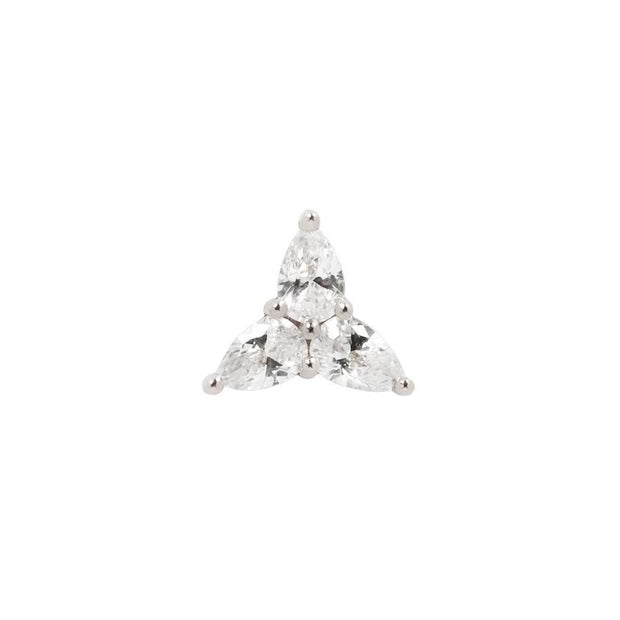 3 Little Pears CZ End in 14k White Gold by Buddha Jewelry