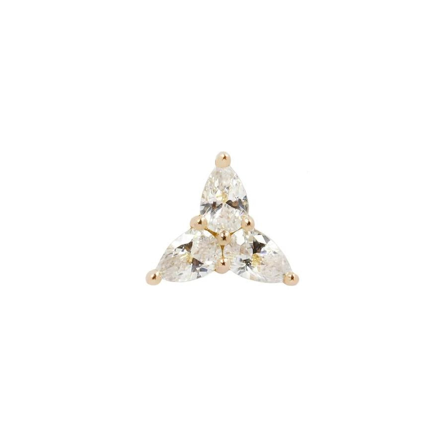 3 Little Pears CZ End in 14k Yellow Gold by Buddha Jewelry - Pierced