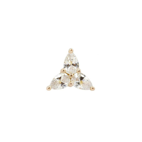 3 Little Pears CZ End in 14k Yellow Gold by Buddha Jewelry