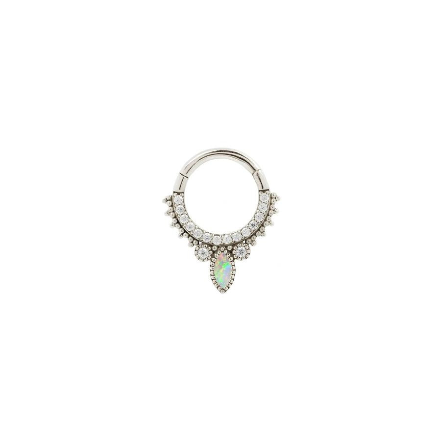 Airelle Opal Clicker in 14k White Gold by Buddha Jewelry - Pierced