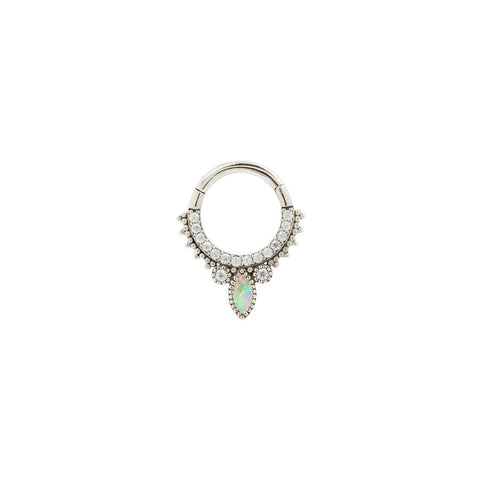 Airelle Opal Clicker in 14k White Gold by Buddha Jewelry
