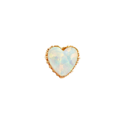 Heart White Opal End in 18k Yellow Gold by Anatometal