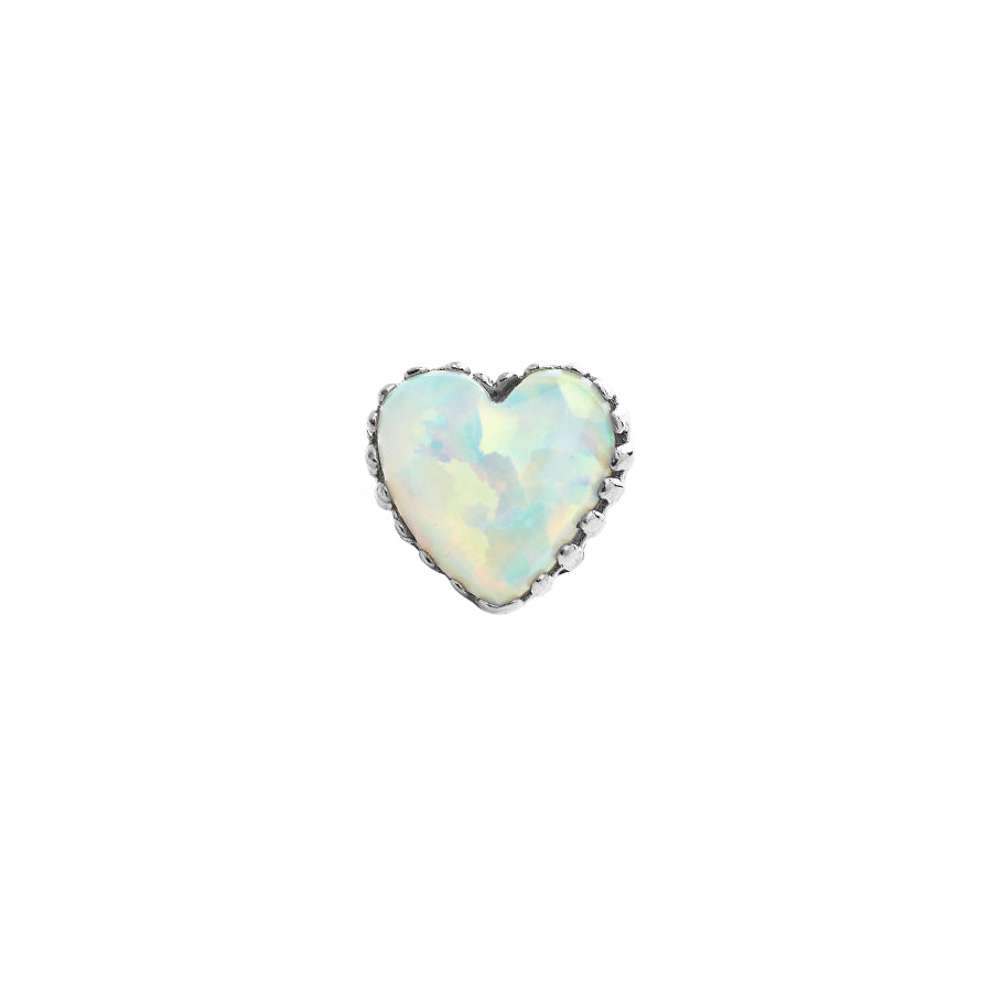 Anatometal Opal Heart in 18k White Gold with White Opal