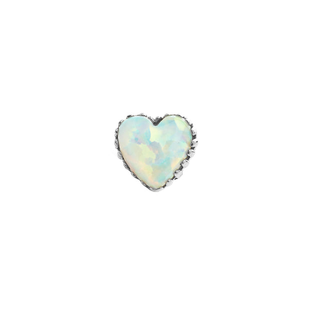 Heart End White Opal in 18k White Gold by Anatometal