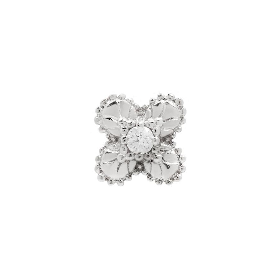 Coco CZ End in 14k White Gold by Buddha Jewelry - Pierced