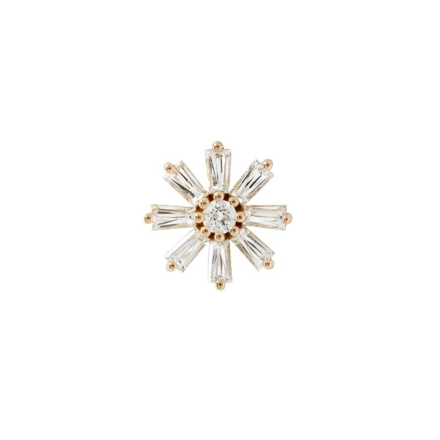 Deliah CZ End in 14k Rose Gold by Buddha Jewelry - Pierced