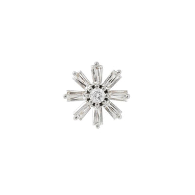 Deliah CZ End in 14k White Gold by Buddha Jewelry - Pierced