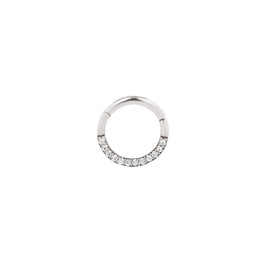 Dia CZ Clicker in 14k White Gold by Buddha Jewelry - Pierced