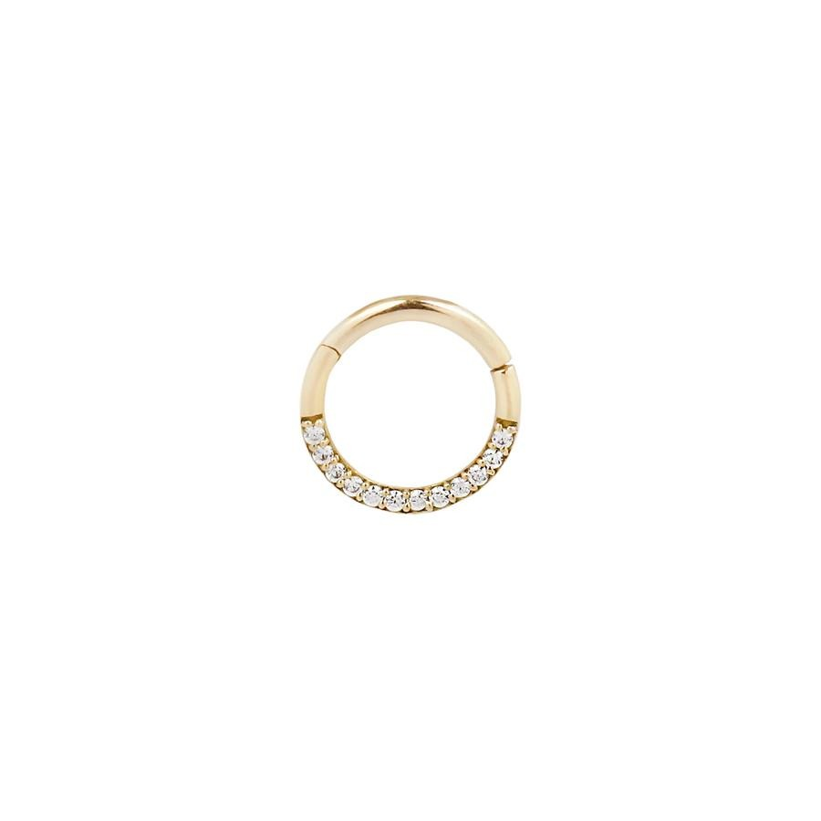 Dia CZ Clicker in 14k Yellow Gold by Buddha Jewelry - Pierced