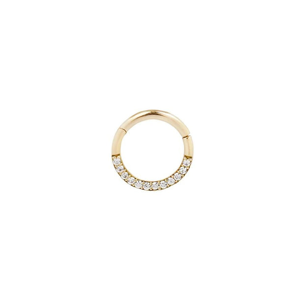 Dia CZ Clicker in 14k Yellow Gold by Buddha Jewelry