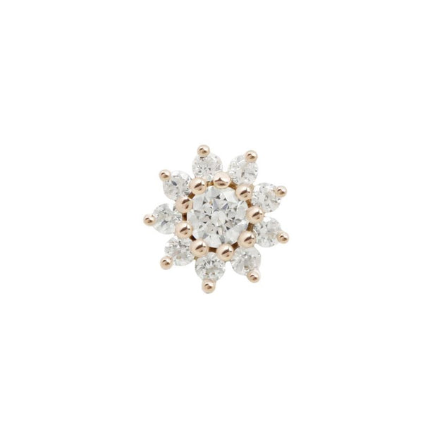 Eloise Flower CZ End in 14k Rose Gold by Buddha Jewelry - Pierced