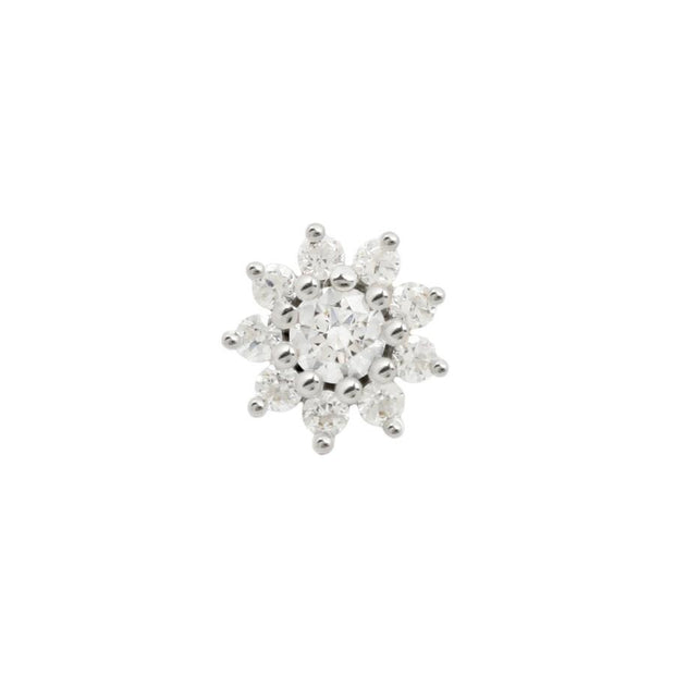 Eloise Flower CZ End in 14k White Gold by Buddha Jewelry - Pierced