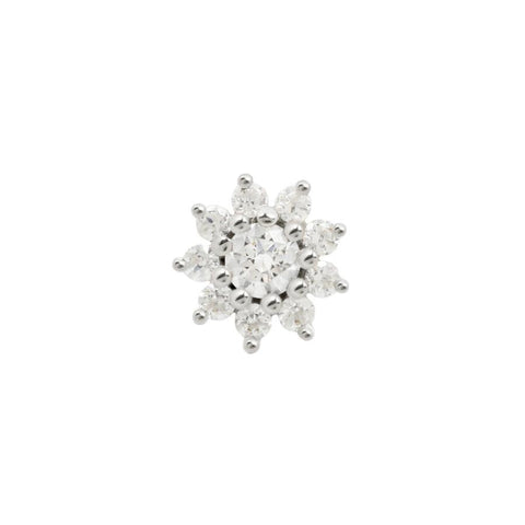 Eloise Flower CZ End in 14k White Gold by Buddha Jewelry