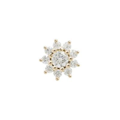 Eloise Flower CZ End in 14k Yellow Gold by Buddha Jewelry