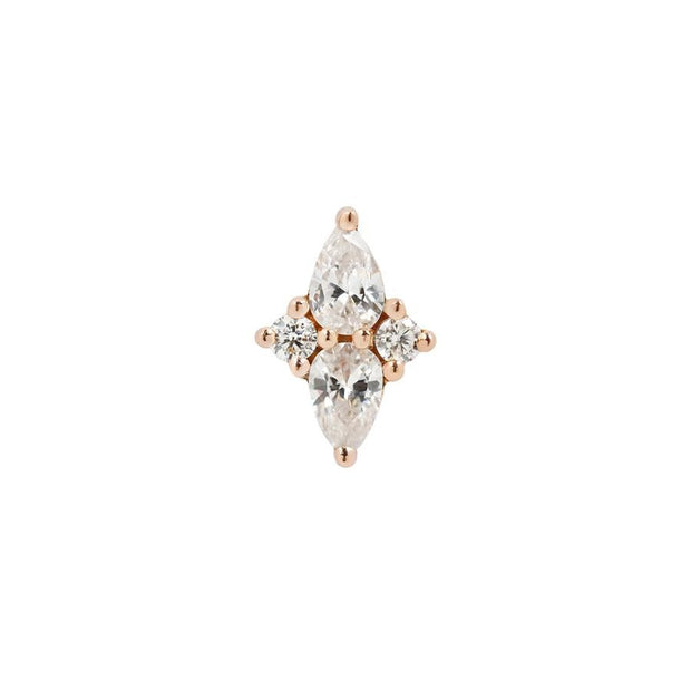 Ethereal CZ End in 14k Rose Gold by Buddha Jewelry - Pierced
