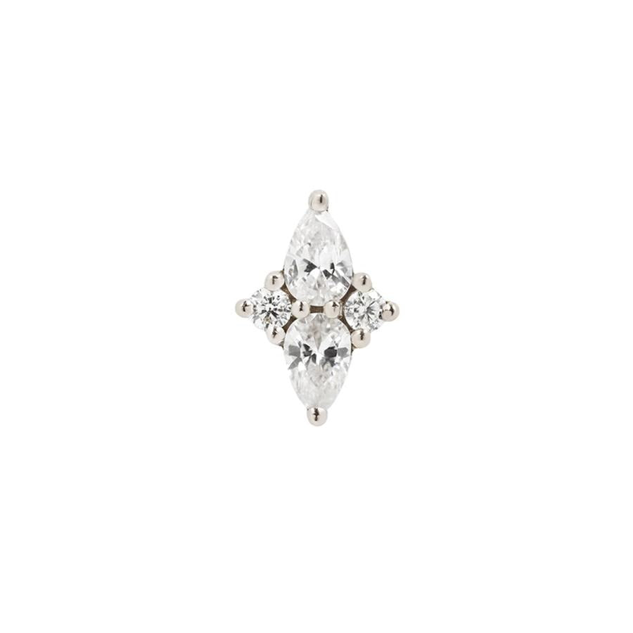 Ethereal CZ End in 14k White Gold by Buddha Jewelry - Pierced