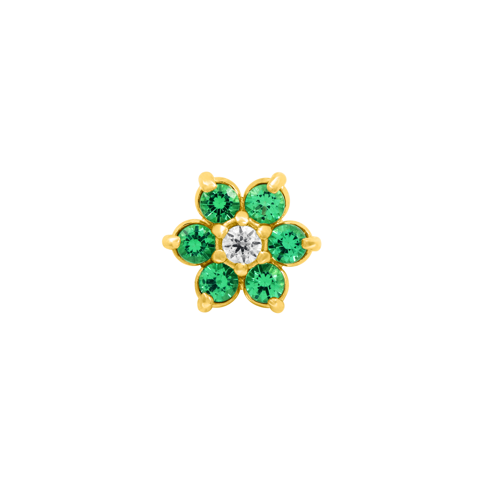 Flower Emerald CZ End in 18k Yellow Gold by Anatometal - Pierced