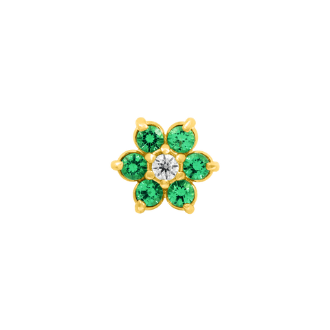 Flower Emerald CZ in 18k Yellow Gold by Anatometal