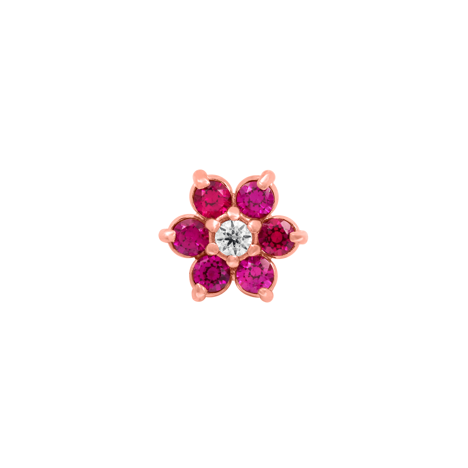 Flower Ruby CZ End in 18k Rose Gold by Anatometal - Pierced
