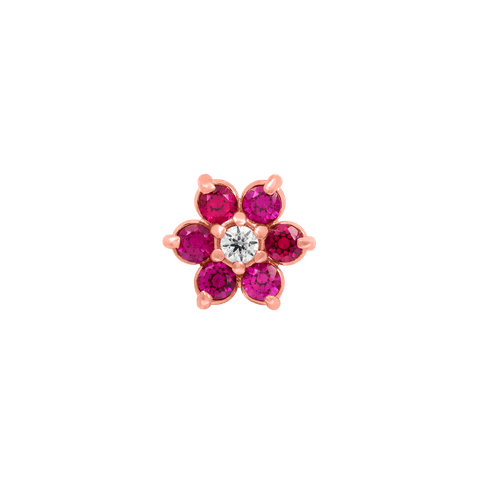 Flower Ruby CZ in 18k Rose Gold by Anatometal