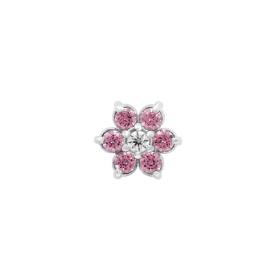 Flower Pink CZ End in 18k White Gold by Anatometal - Pierced