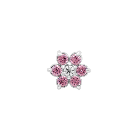 Flower Pink CZ in 18k White Gold by Anatometal