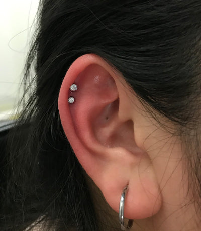 2 Helix Piercings in Mississauga
