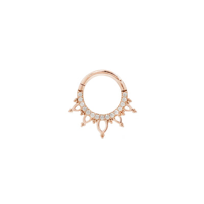 Indra CZ Clicker in 14k Rose Gold by Buddha Jewelry