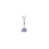 Invictus Prong-set Navel Bar in Titanium with Aurora Swarovski Gems
