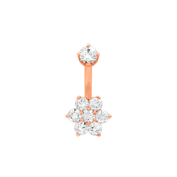 Flower CZ Navel Bar in 14k Rose Gold by LeRoi - Pierced