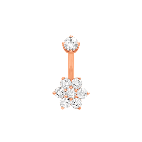 Flower CZ Navel Bar in 14k Rose Gold by LeRoi